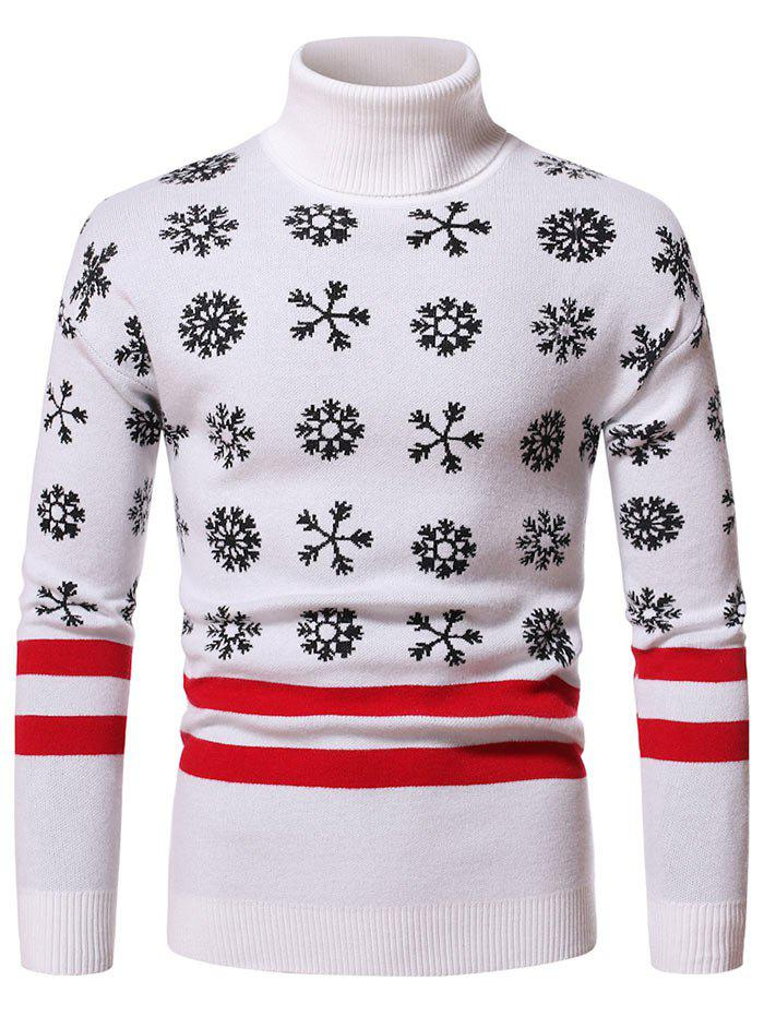 Latest Christmas Snowflake Pattern Turtleneck Sweater