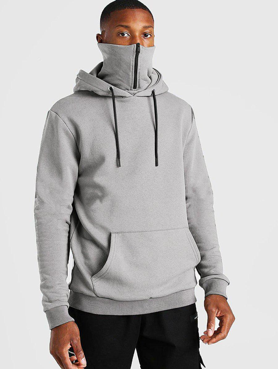 Pullover Zip Design Fleece Hoodie
