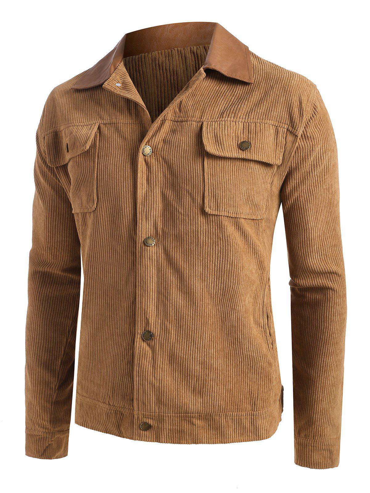 Cheap Button Up Ribbed Corduroy Jacket