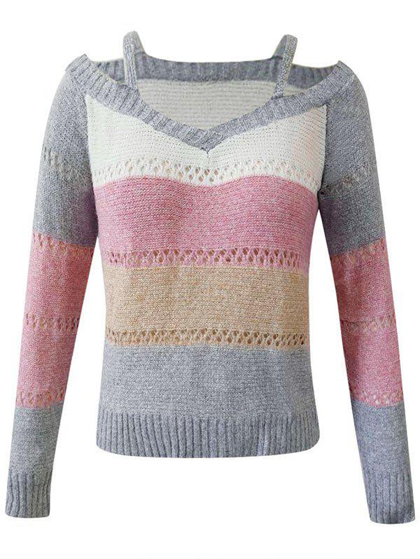 Store Plus Size Colorblock Cutout Sweater
