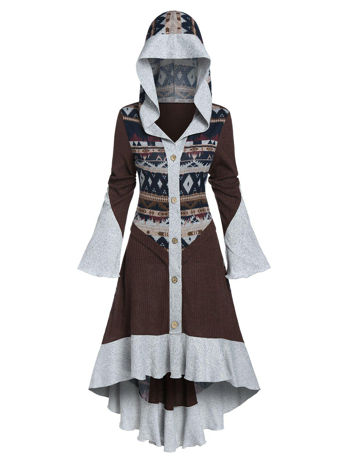 Store Hooded Tribal Pattern Skirted High Low Cardigan