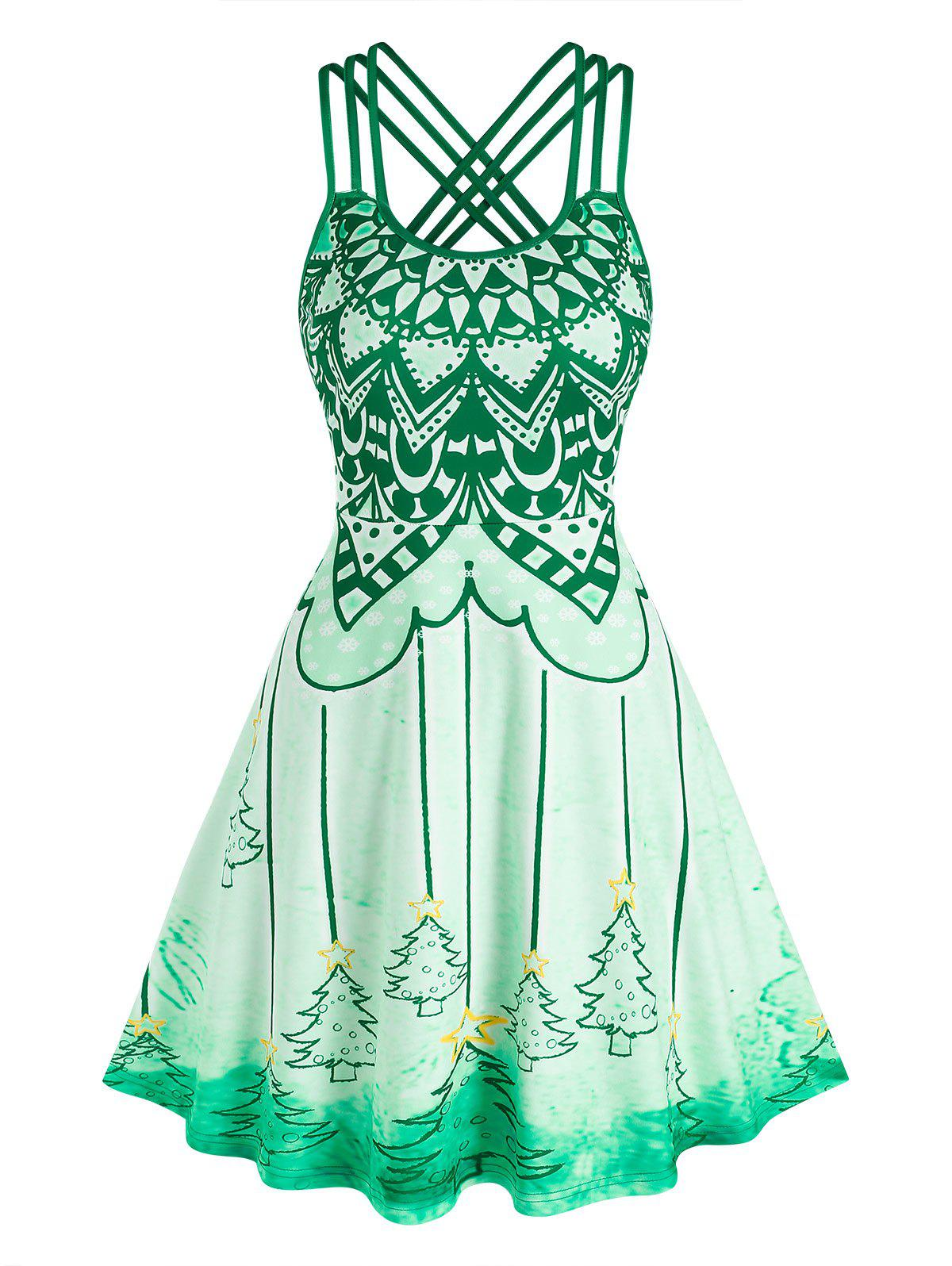 Trendy Christmas Tree Print Strappy Flare Dress