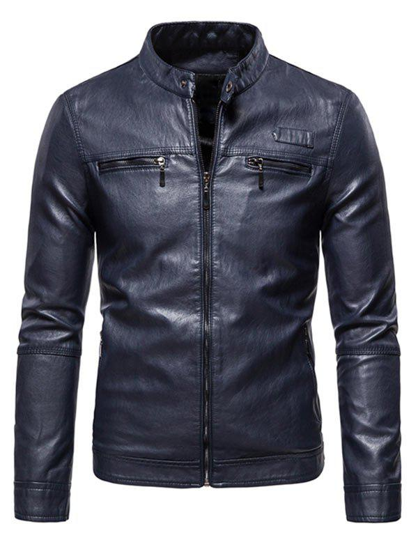 Shop Zipper Detail Faux Leather Fleece Jacket