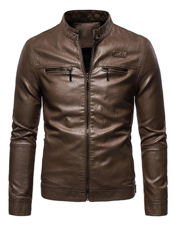 Shops Zipper Detail Faux Leather Fleece Jacket