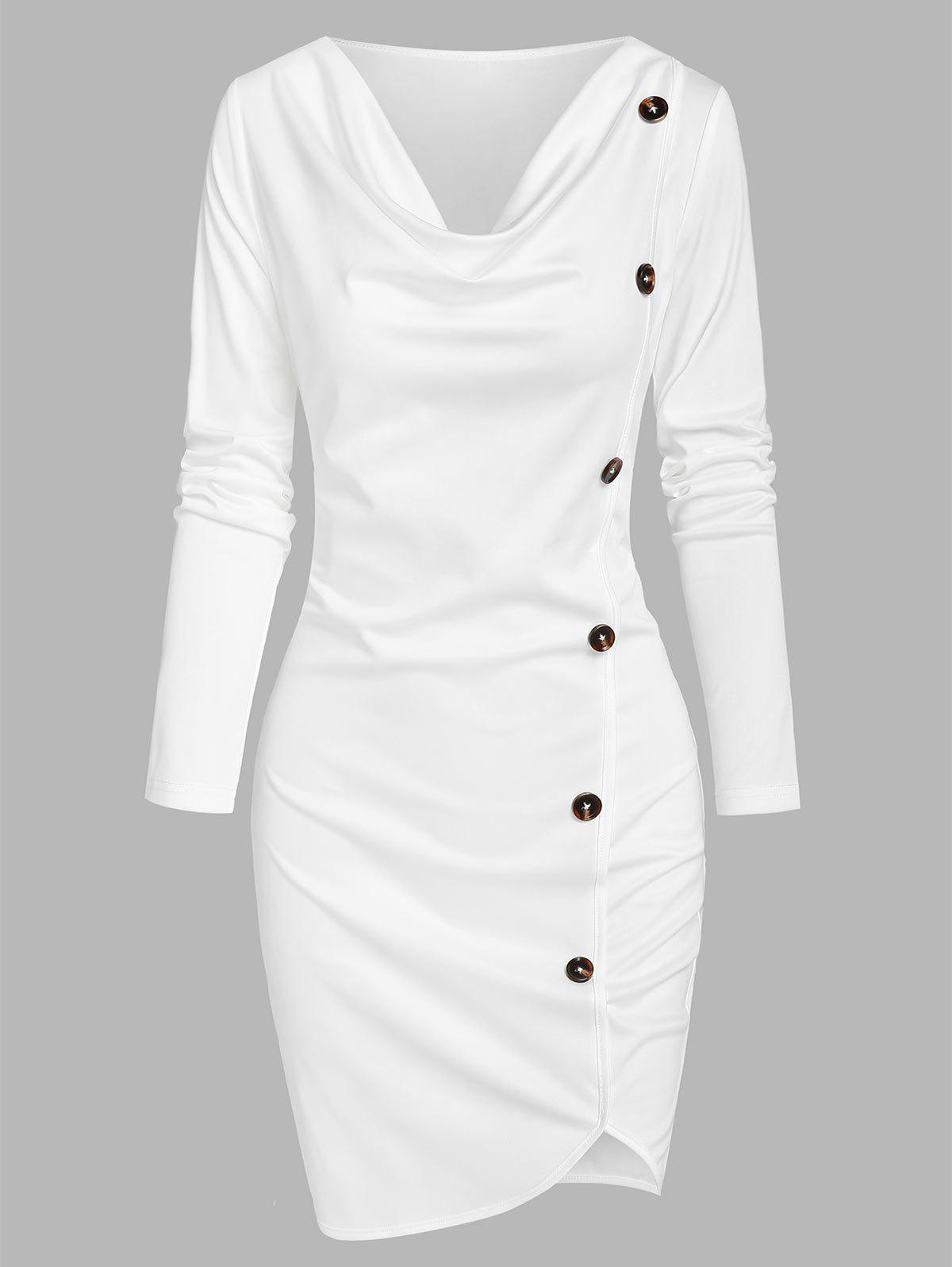 Latest Asymmetrical Mock Button Sheath Dress