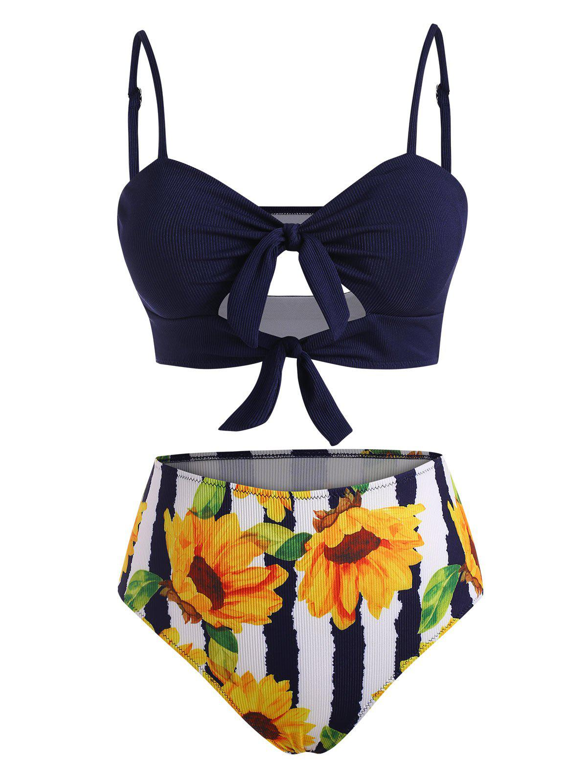 Trendy Ribbed Knots Sunflower Striped Cutout Tankini Swimwear
