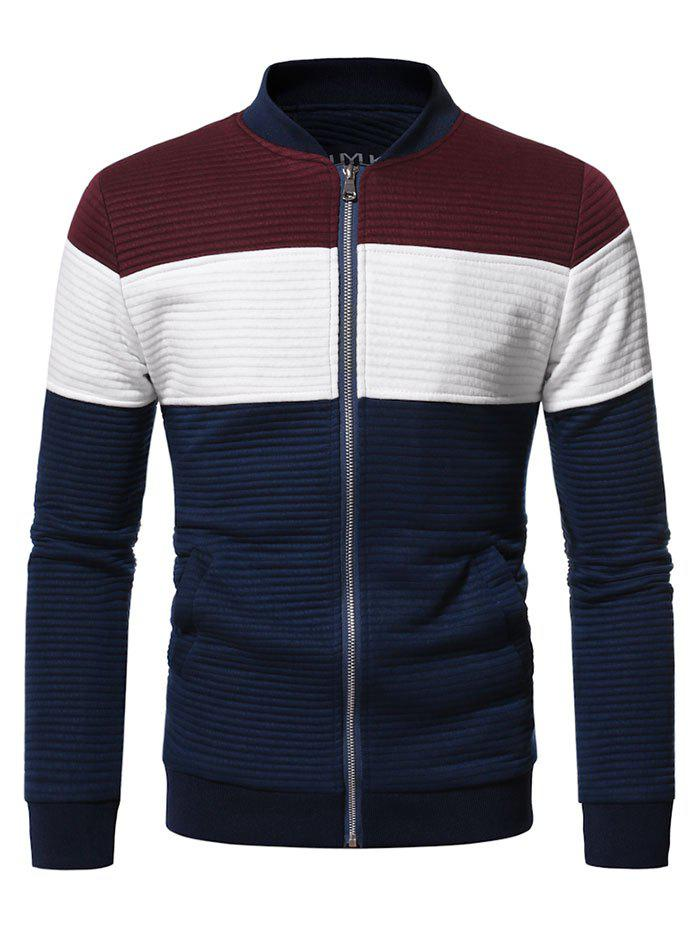 Affordable Contrast Zip Up Ribbed Jacket