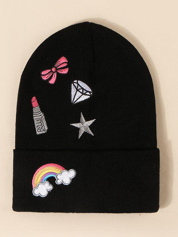 Discount Rainbow Bow Pattern Knit Hat