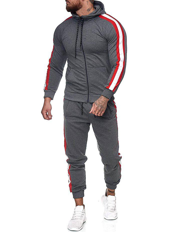 Sale Side Striped Hoodie and Sports Pants Two Piece Set