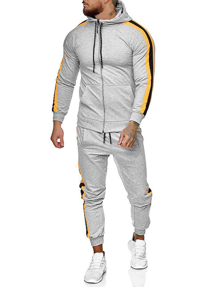 Unique Side Striped Hoodie and Sports Pants Two Piece Set