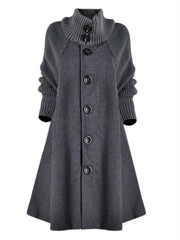 Plus Size Single Breasted Knit Sleeve Pocket Long Coat - GRAY - 4XL
