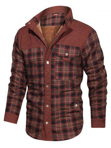 Button Up Plaid Print Fleece Jacket - COFFEE - L