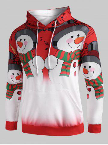 Christmas Snowmen Music Notes Print Pullover Hoodie - RUBY RED - 3XL