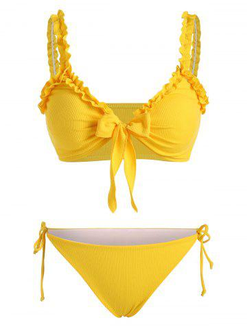 Lettuce Trim Ribbed Bowknot Tie Side Tanga Bikini Swimwear
