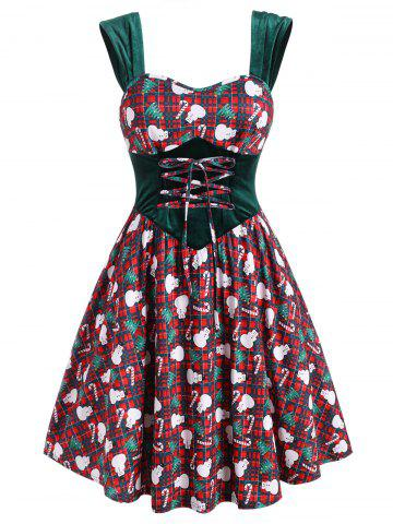 Christmas Plaid Snowman Candy Cane Velvet Panel Plus Size Dress