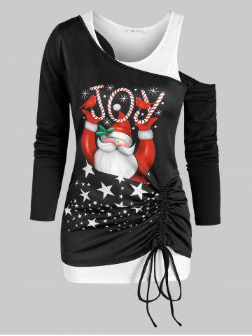 Christmas Santa Claus Print Cinched T Shirt and Racerback Tank Top - BLACK - M