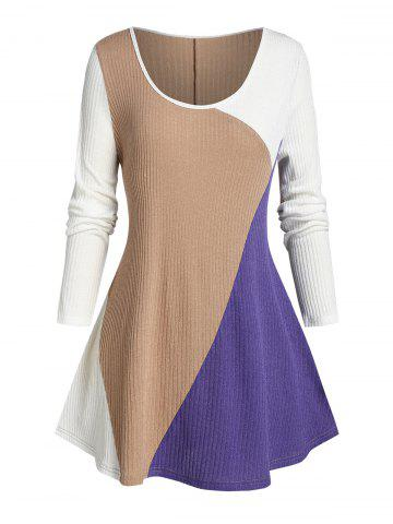 Plus Size Color Blocking Ribbed Curved Hem Tunic Sweater