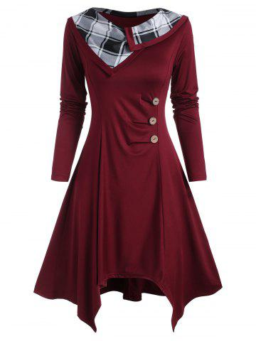 Plaid Panel Mock Buttons Ruched Long Sleeve Dress - DEEP RED - XXL