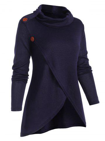 Overlap Front Cowl Neck Solid Knitwear