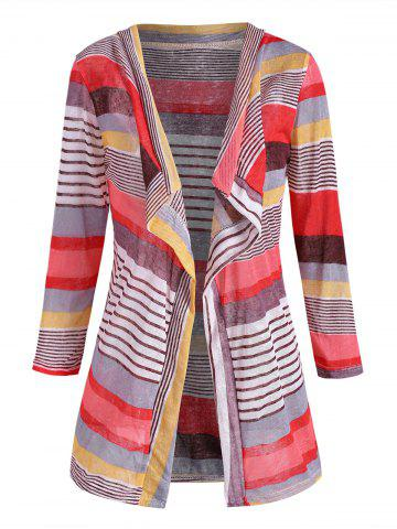 Mixed Stripes Open Front Cardigan - MULTI - L