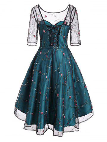 Mesh Overlay Flower Embroidered Lace Up Party Dress