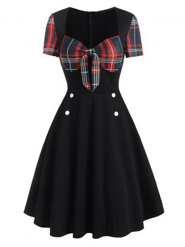 Plaid Tied Mock Button Short Sleeve Dress