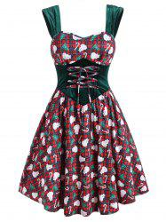 Christmas Plaid Snowman Candy Cane Velvet Panel Plus Size Dress -