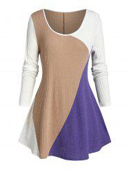 Plus Size Color Blocking Ribbed Curved Hem Tunic Sweater -