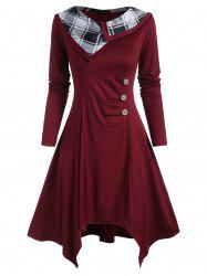 Plaid Panel Mock Buttons Ruched Long Sleeve Dress -