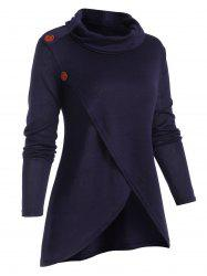 Overlap Front Cowl Neck Solid Knitwear -