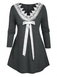 Plus Size Bowknot Guipure Lace Tunic Long Sleeve Tee -