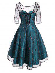 Mesh Overlay Flower Embroidered Lace Up Party Dress -