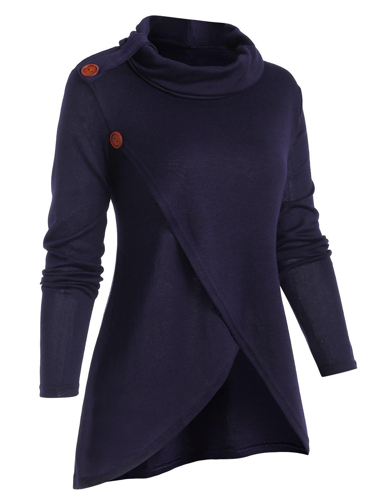 New Overlap Front Cowl Neck Solid Knitwear