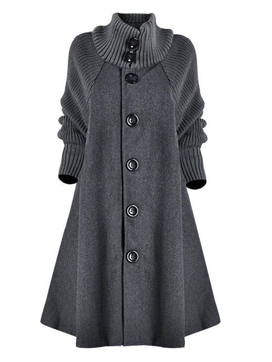 Plus Size Single Breasted Knit Sleeve Pocket Long Coat