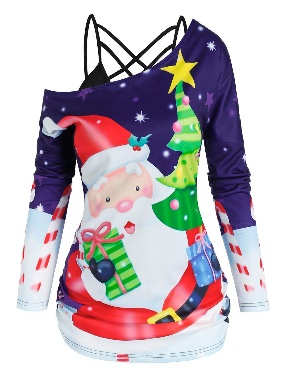 Trendy Christmas Tree Santa Claus Print Skew Neck T-shirt and Strappy Cami Top