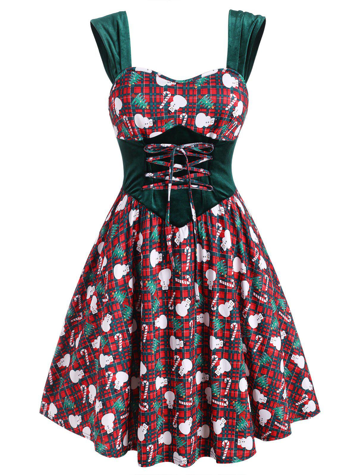 Shop Christmas Plaid Snowman Candy Cane Velvet Panel Plus Size Dress