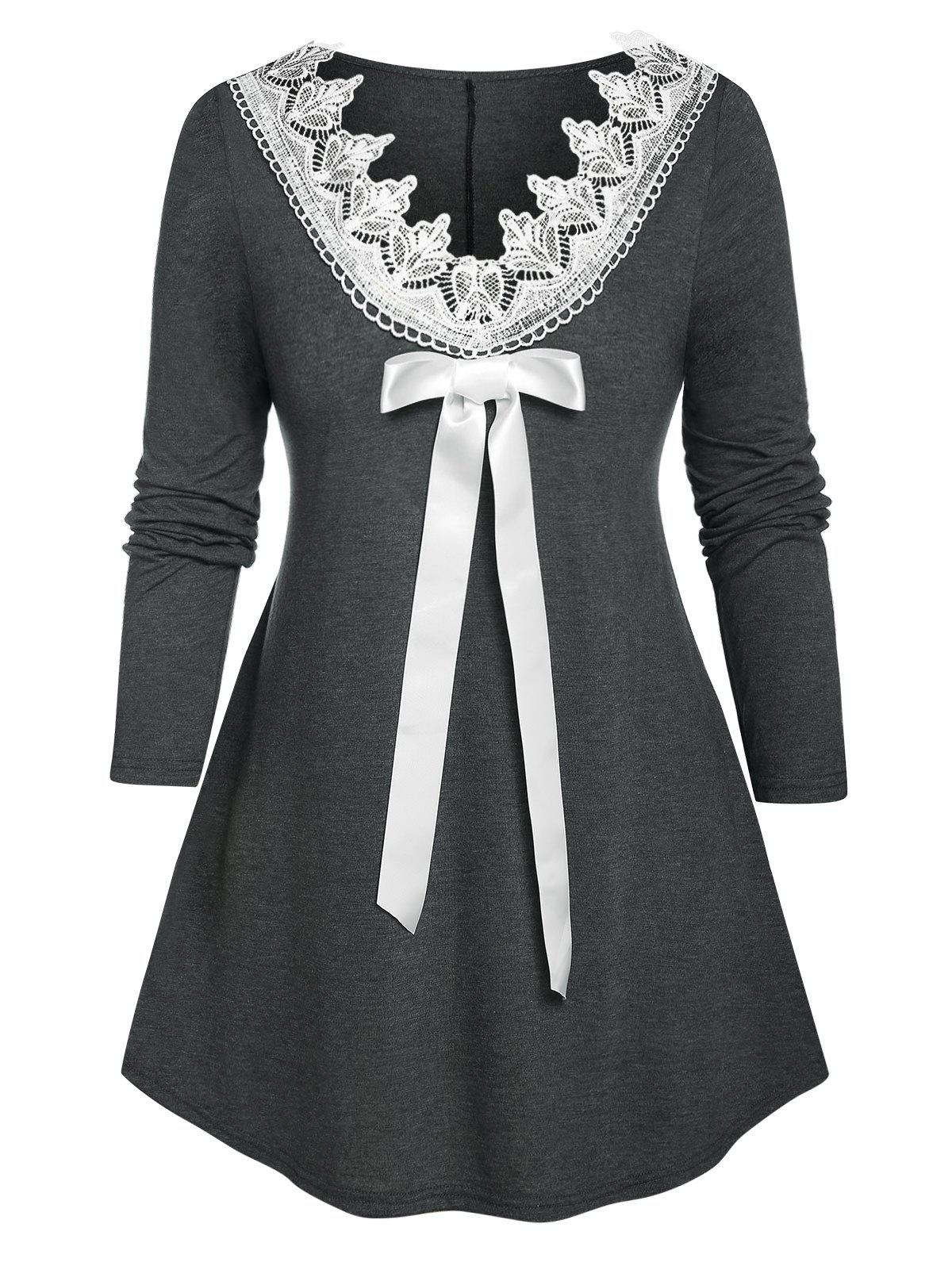 Cheap Plus Size Bowknot Guipure Lace Tunic Long Sleeve Tee