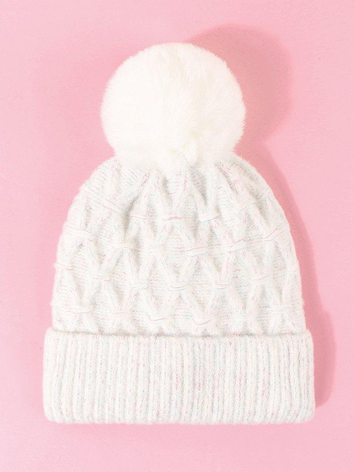 Affordable Rhombus Turn Up Edge Knitted Bubble Hat