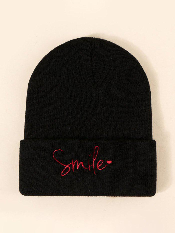 Embroidered Smile Letter Knitted Hat