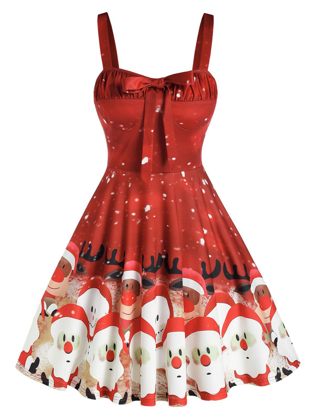 Unique Santa Printed Bowknot Pleated Flare Dress