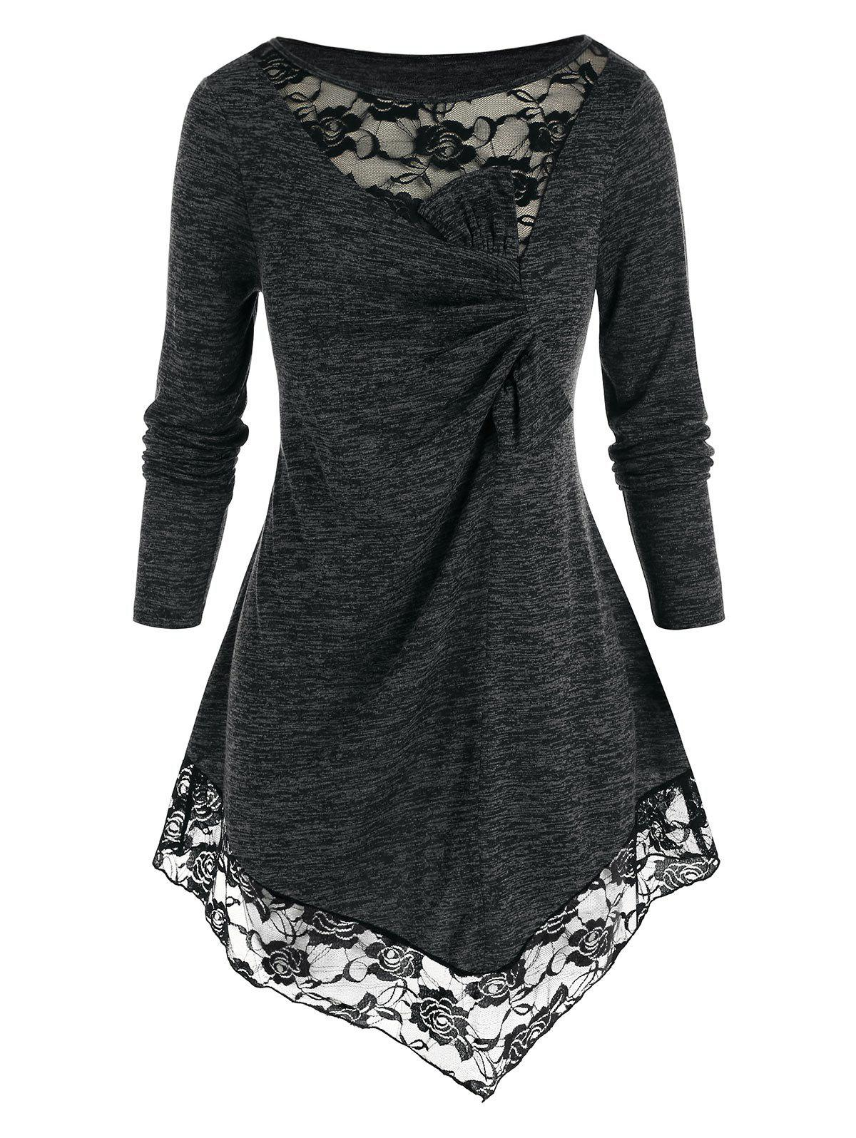 New Plus Size Space Dye Lace Panel Long Sleeve Knot T-shirt