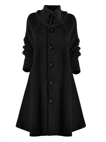 Manteau Long en Tricot à Simple Boutonnage avec Poche de Grande Taille - BLACK - 2XL