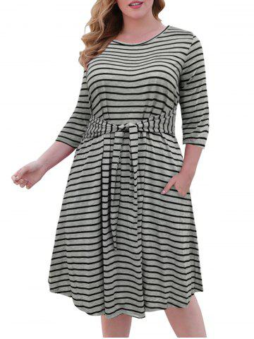 Tie Waist Contrast Stripes Casual Plus Size Dress - GRAY - 5XL