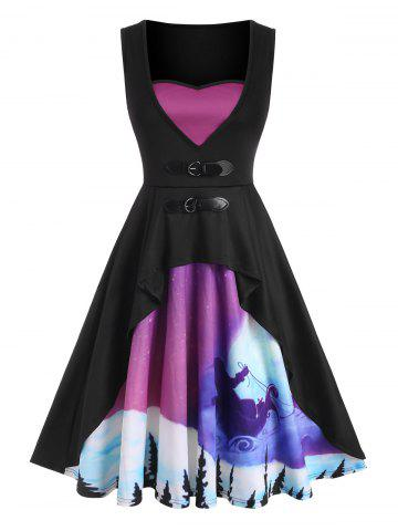 Christmas Print Buckled Sleeveless Fit and Flare Dress