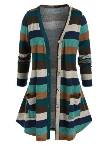 Plus Size Striped Button Front Knitted Pocket Cardigan - MULTI - L