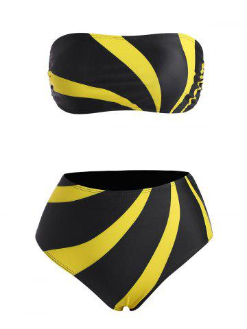 Strapless Back Tie Colorblock High Waist Bikini Swimwear - YELLOW - XXL