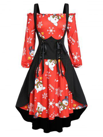 Plus Size Christmas Snowflake Snowman Dress with Long Waistcoat Set - RED - 5X