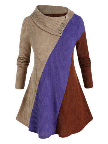 Plus Size Color Blocking Ribbed Foldover Curved Hem Sweater - MULTI-A - L