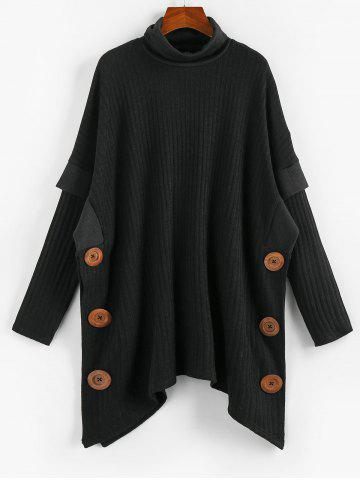 Mock Button Turtleneck Ribbed Cape Sweater