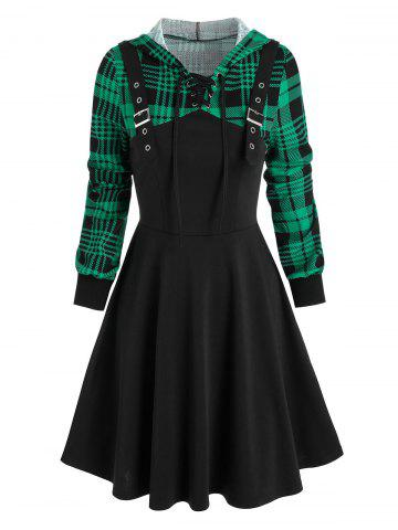 Hooded Plaid Print Buckle Strap Lace-up Dress